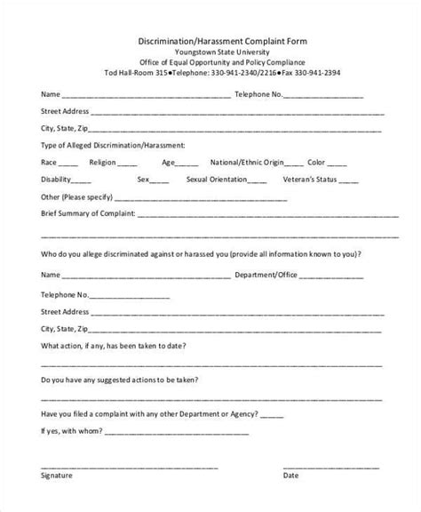 Sexual harassment incident reportcomplaint form jpg 600x730